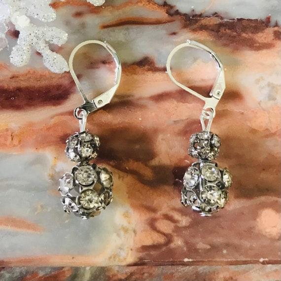 Sparkly Silver Rhinestone Dangle Earrings