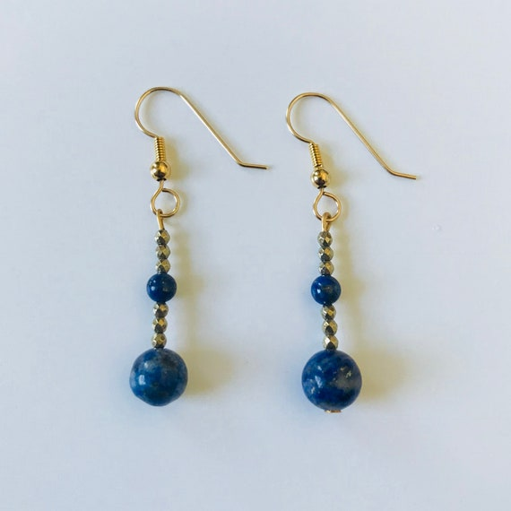 Lapis Lazuli and Pyrite Gold Filled Dangle Earrings