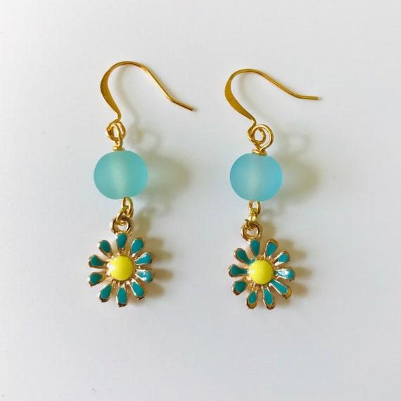Daisy's Enamel Aqua Blue Frosted Glass Dangle Earrings