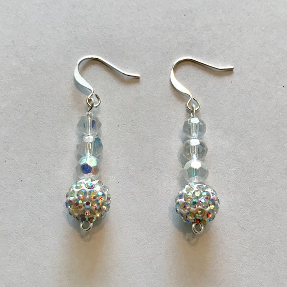 Vintage Shimmering Crystal Ball Dangle Earrings