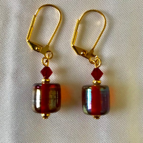 Golden Glass Cylinder Earrings