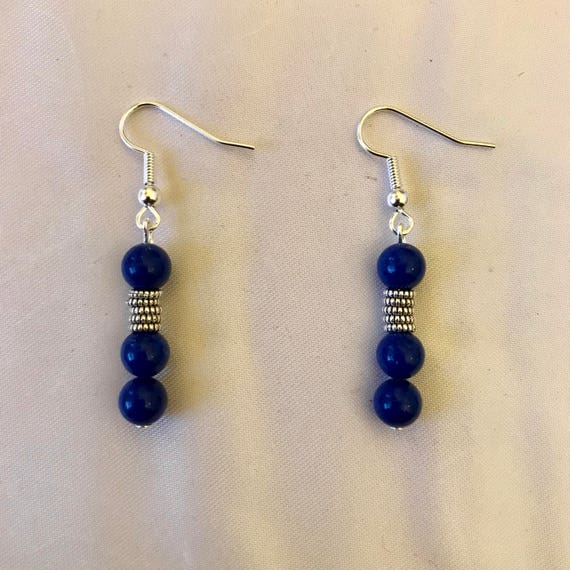 Lapis Blue Mountain Jade Dangle Earrings