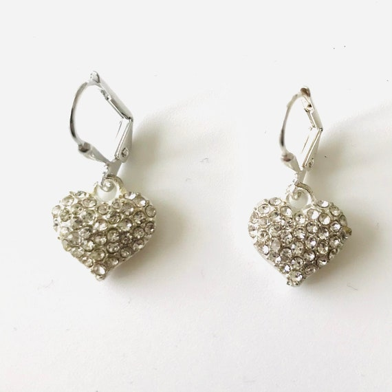 Silver Pave Crystal Puffed Heart Earrings