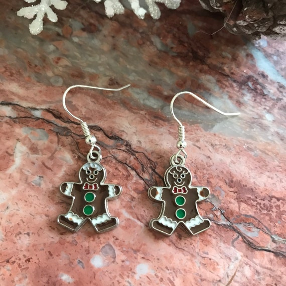 Christmas Gingerbread Man Enamel Dangle Earrings