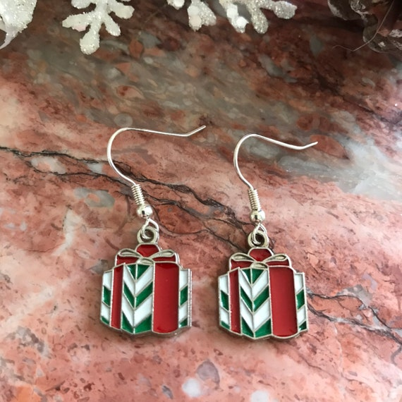 Christmas Present Enamel Dangle Earrings