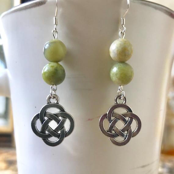 Connemara Marble Celtic Knot Earrings