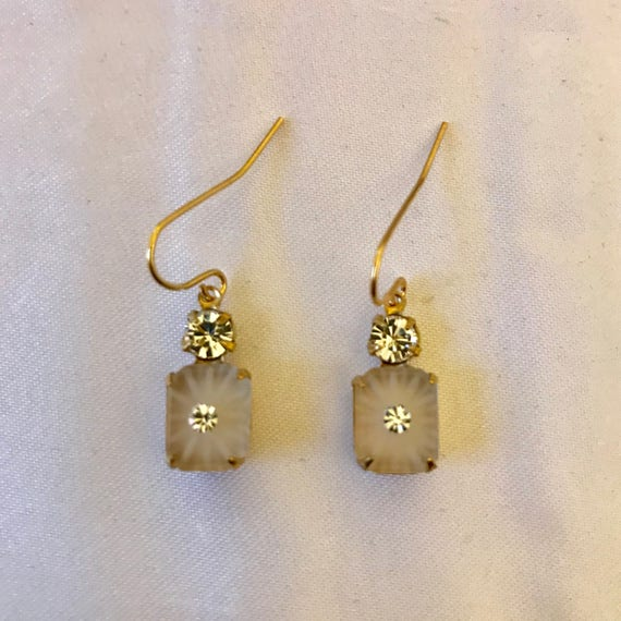 Vintage Matte Camphor Glass with Swarovski Rhinestone Dangle Earrings
