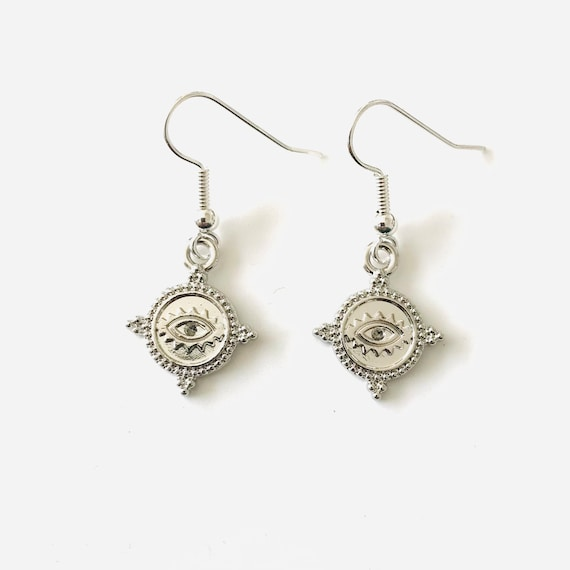 Silver Etruscan Evil Eye Dangle Earrings