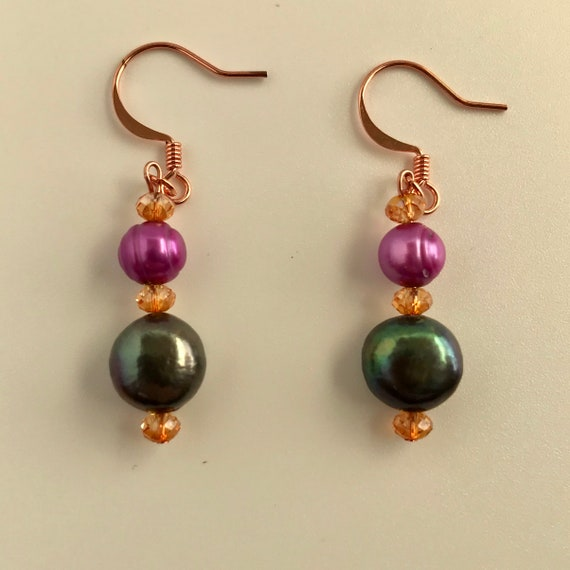 Fuchsia and Peacock  Freshwater Pearl and Swarovski Crystal Dangle Earrings
