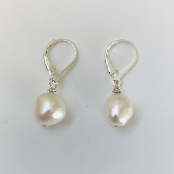 White Baroque Pearl Sterling Silver Dangle Earrings