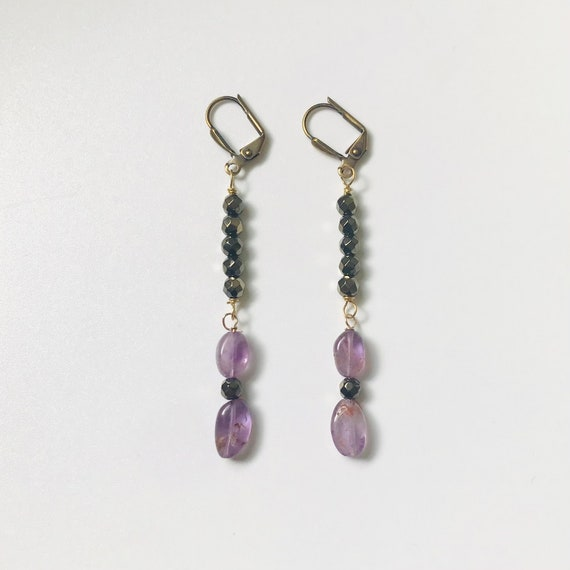 Amethyst and Gold Hematite Dangle Earrings