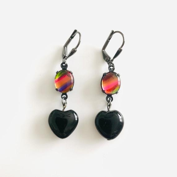 Black Onyx Heart and Rainbow Glass Dangle Earrings