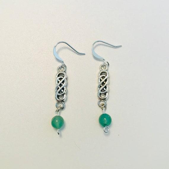 Celtic Knot and Aventurine Dangle Earrings