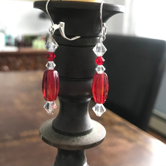 Stylish Swarovski and Red Glass Dangle Earrings