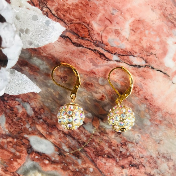Gold Pave Crystal Ball Holiday Dangle Earrings