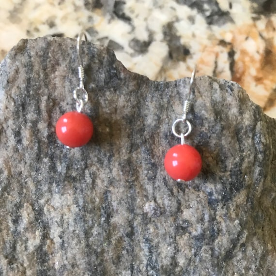 Coral Shell Pearl Sterling Silver Earrings