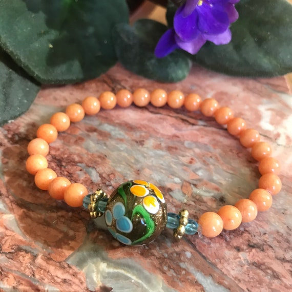 Coral Mountain Jade Lampworked Glass Stretch Bracelet