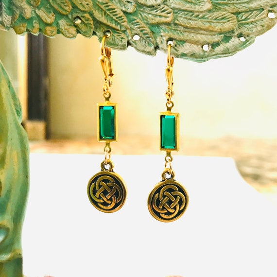 The Eire Emerald Green Swarovski Crystal Celtic Knot Earrings
