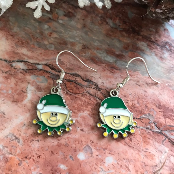 Christmas Elf Enamel Dangle Earrings