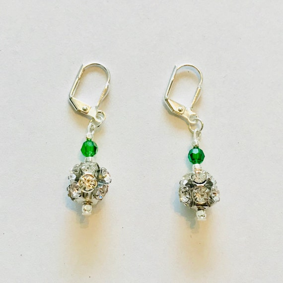 Silver Rhinestone Earrings with A Touch of Green Swarovski