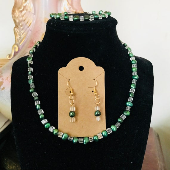 Green Freshwater Pearl and Crystal Necklace, Bracelet and Earrings Set