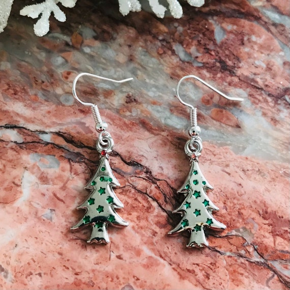 Christmas Tree Enamel and Silver Dangle Earrings