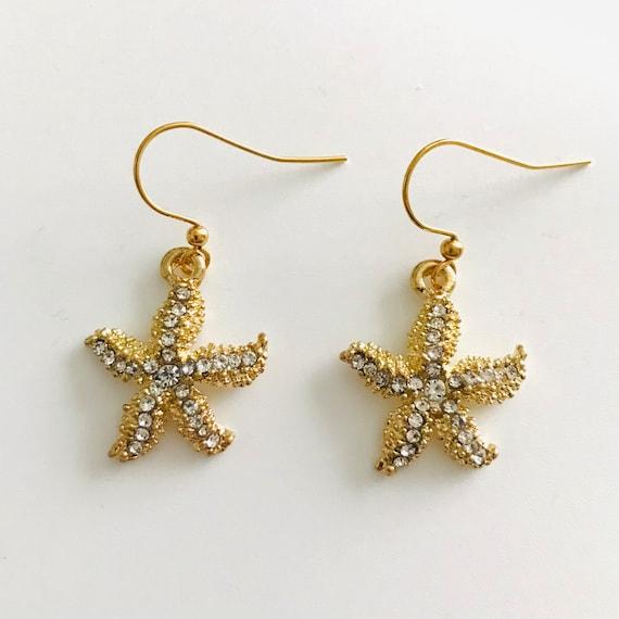 Gold Rhinestone Starfish Dangle Earrings