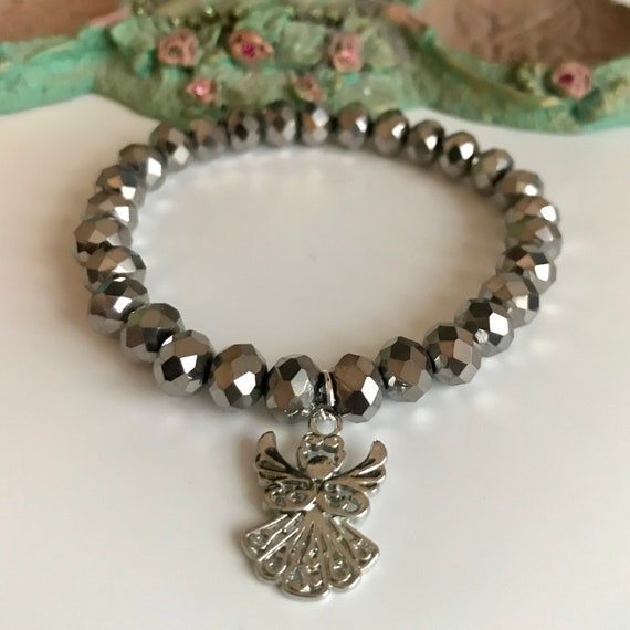 Silver Metallic Crystal Angel Bracelet