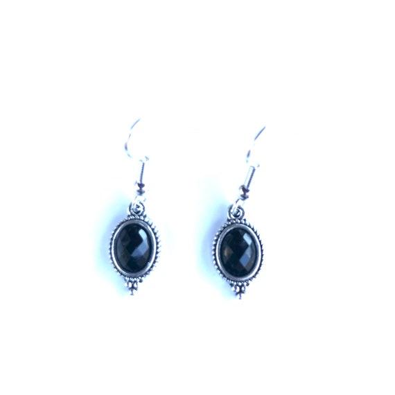 Faceted Black Glass Bezel Set Antique Silver Dangle Earrings