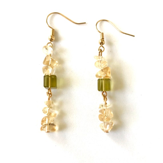 Citrine Chip and Peridot Crystal Cube Dangle Earrings