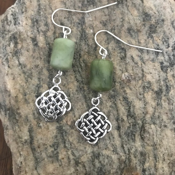 Connemara Marble Sterling Celtic Eternity Knot Dangle Earrings