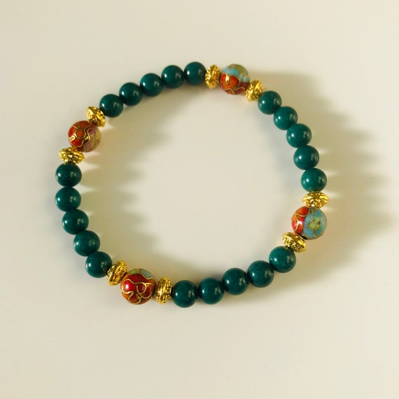 Dark Green Mountain Jade and Cloissone Bracelet