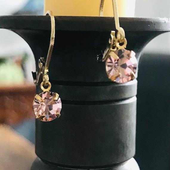 Sparkly Light Pink Crystal Rhinestone Dangle Earrings