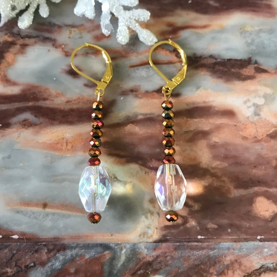 AB Crystal Teardrop Dangle Earrings