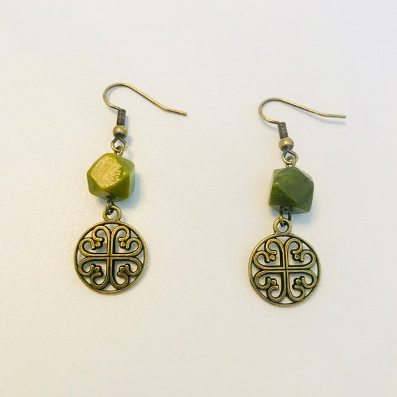 Brass Celtic Knot and Green Serpentine Dangle Earrings