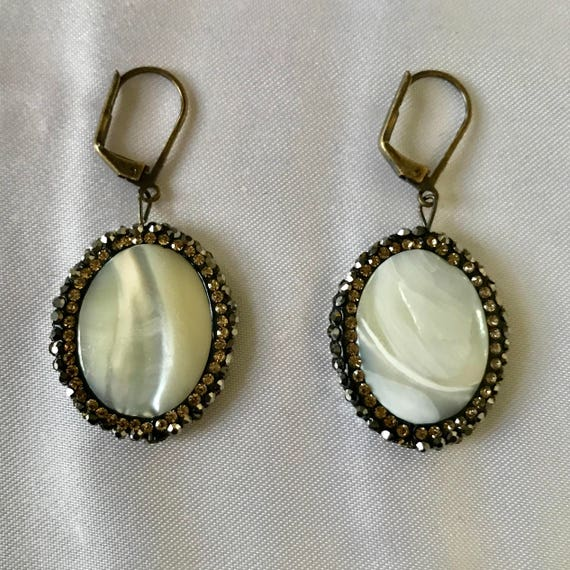 Sensual Shell Mother of Pearl and Druzy Earrings