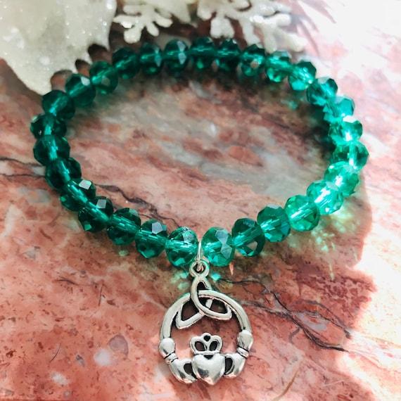 Emerald Green Crystal Claddagh Bracelet