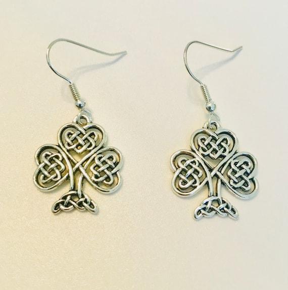 Celtic Knot Irish Clover Dangle Earrings