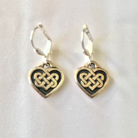 Silvery Celtic Heart Earrings