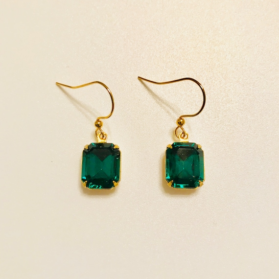 Emerald Green Octagon Faceted Glass Dangle Earrings