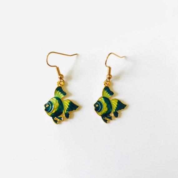 Festive Fish Enamel Dangle Earrings