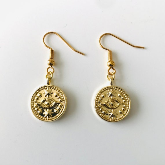 Evil Eye Gold Etruscan Dangle Earrings