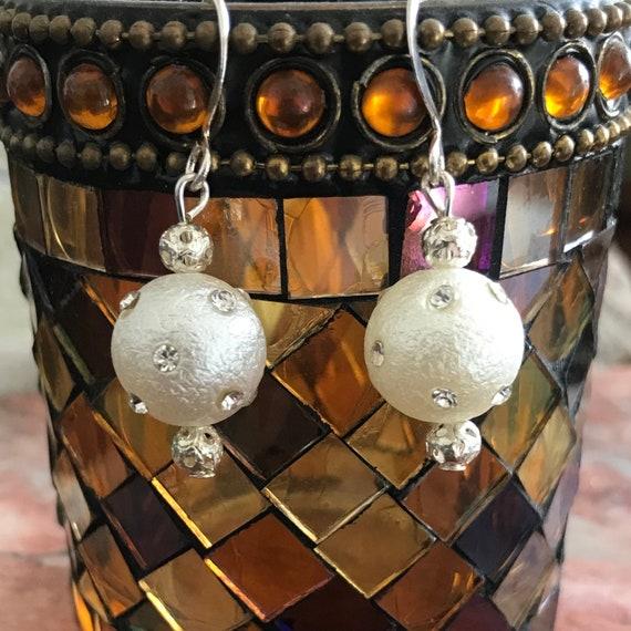 Faux Pearl and Rhinestone Dangle Earrings