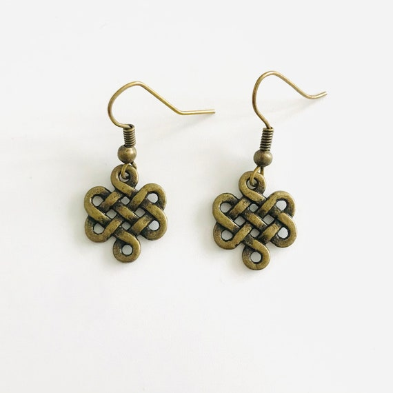 Bridie's Brass Celtic Knot Dangle Earrings