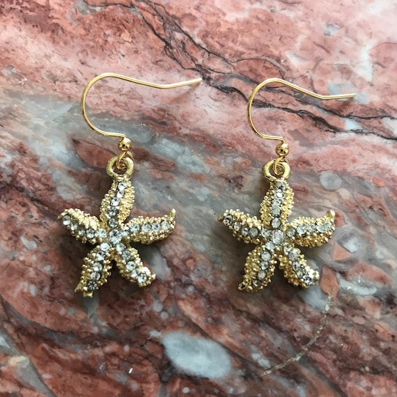 Gold Rhinestone Starfish Dangle Earrings