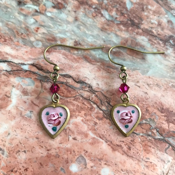 Vintage Victorian Guilloche Enamel Heart Dangle Earrings