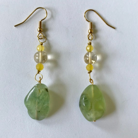 Citrine and Prehnite Dangle Earrings