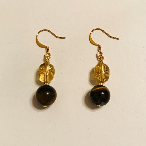 Tiger Eye and Gold Crack Crystal Dangle Earrings