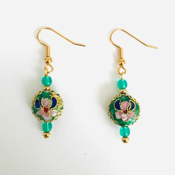 Gorgeous Green Cloissone Earrings