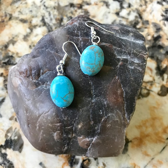 Oval Blue Magnesite Dangle Earrings